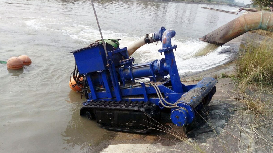 Submersible Robot coming out after open Pond Cleaning in a Power Plant